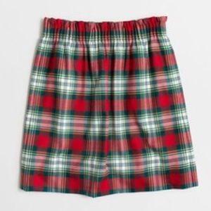 JCrew plaid city skirt elastic waist red wool EUC
